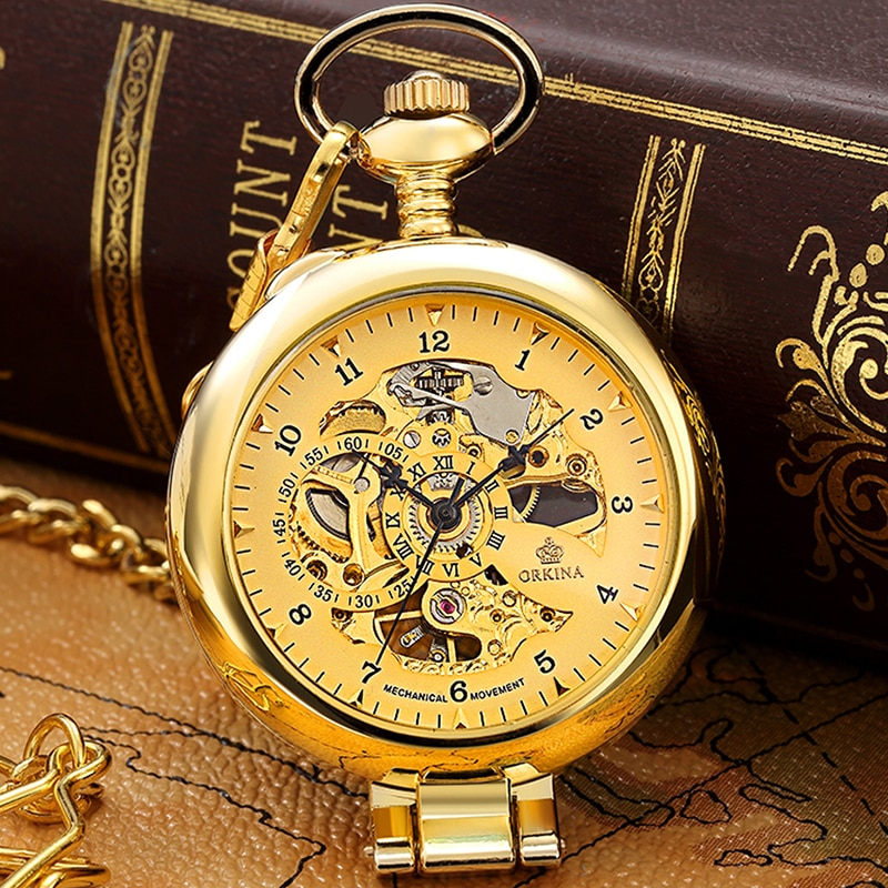 Luxury Golden Mechanical Pocket Watches Unique Hollow Steampunk Hand-winding Fob Watch Flip Necklace Clock With Chain