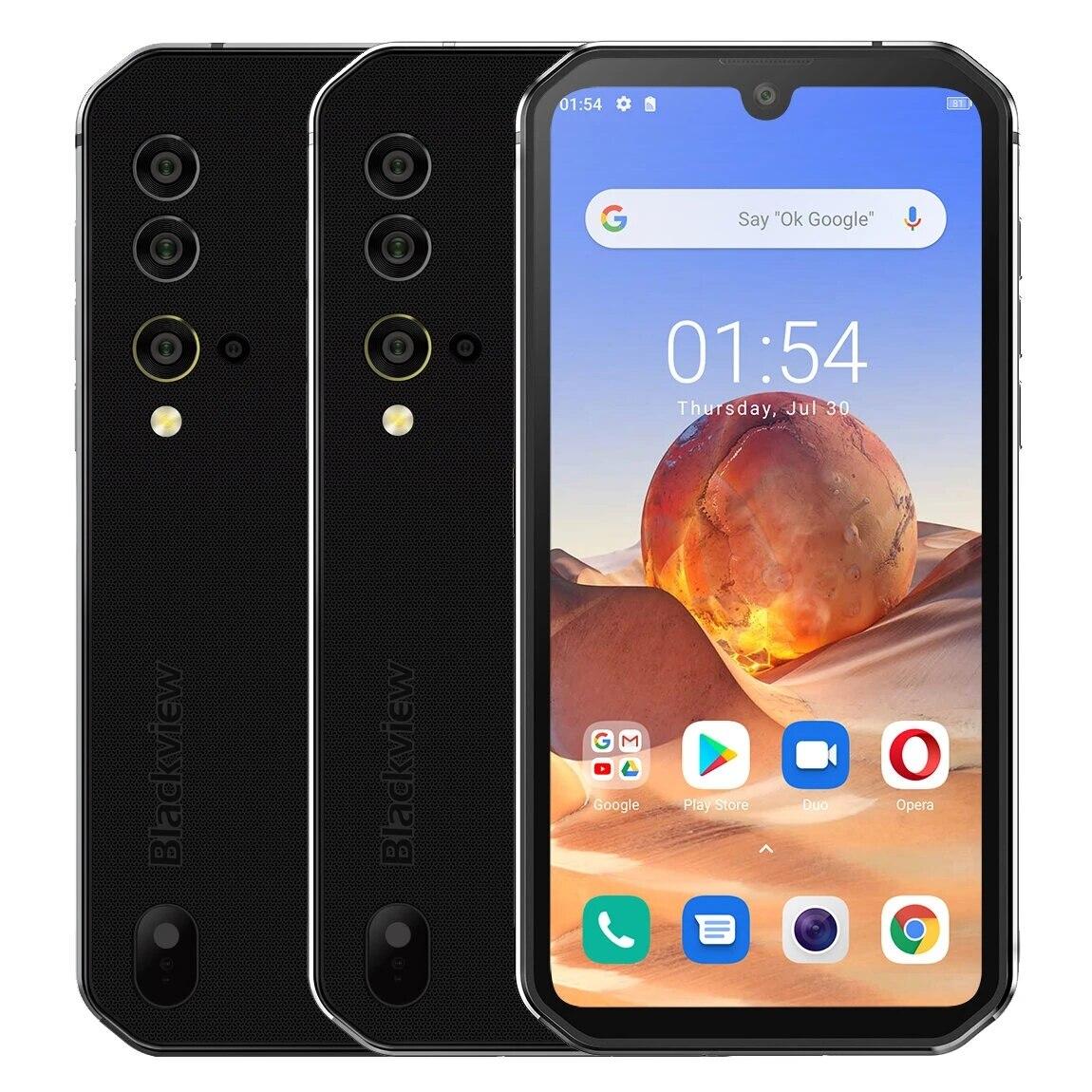 Перейти на Алиэкспресс и купить Blackview BV9900E Global Bands IP68/IP69K 5,84 дюймов FHD + NFC Android 10 4380 мАч 48 МП камера заднего вида 6 ГБ 128 ГБ Helio P90 4G Sma