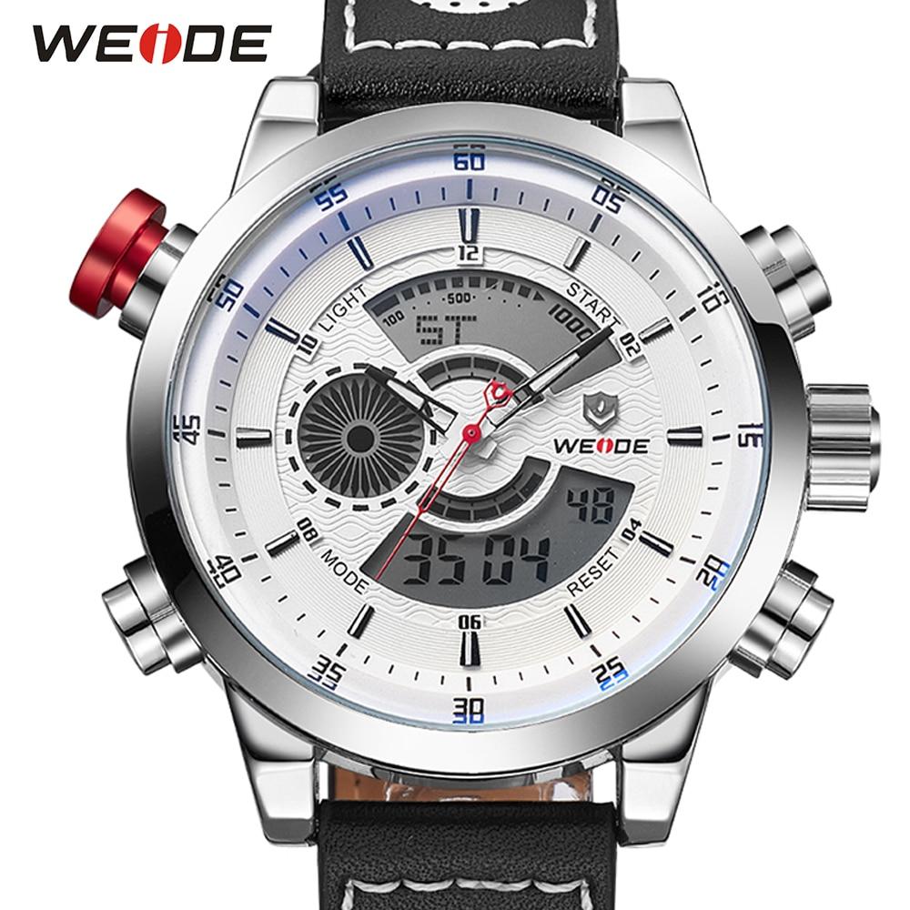 Reloj de pulsera de cuarzo con cronógrafo y alarma con correa de cuero con movimiento digital para hombre militar WEIDE
