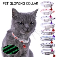 adjustable with bells pet glowing collars neck strap pet supply safety buckle luminous necklace