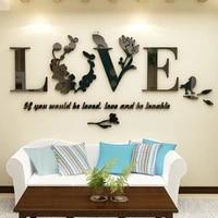 Autocollant mural en vinyle amovible  elegant  feuille 3D  amour  decor de chambre a coucher  miroir    LR2