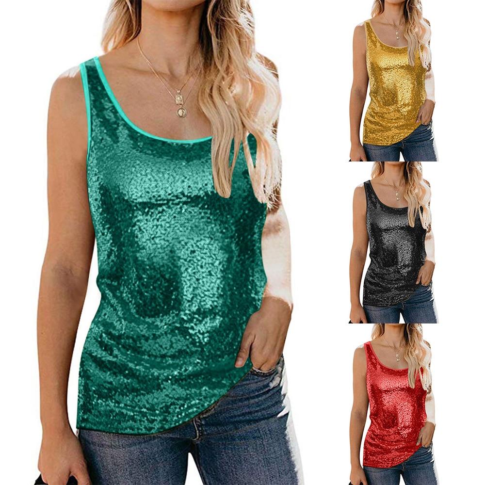 Blusas de verano para mujer, blusas sin mangas de lentejuelas lisas para mujer, blusas casuales de moda para mujer, camisetas D30