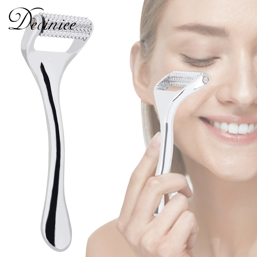 Silver Zinc Alloy Derma Roller Microneedling Skin Care Tool for Face Home Cosmetic Microneedle Face Roller Skin Care Hair Growth