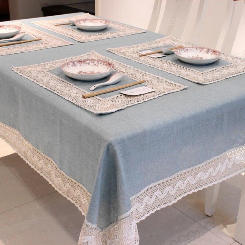 Mantel sencillo europeo y azul, Lino con borde de encaje de algodón, manteles rectangulares a prueba de polvo para mesa de té, frigorífico de alta calidad