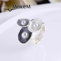 meicem 2021 big geometric adjustment ring hot sale party wedding ring for women female alloy new design finger rings jewelry