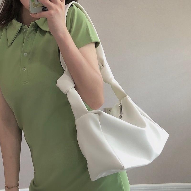 2020 novo design de nicho moda atada tofu saco feminino um ombro axila saco casual macio saco travesseiro