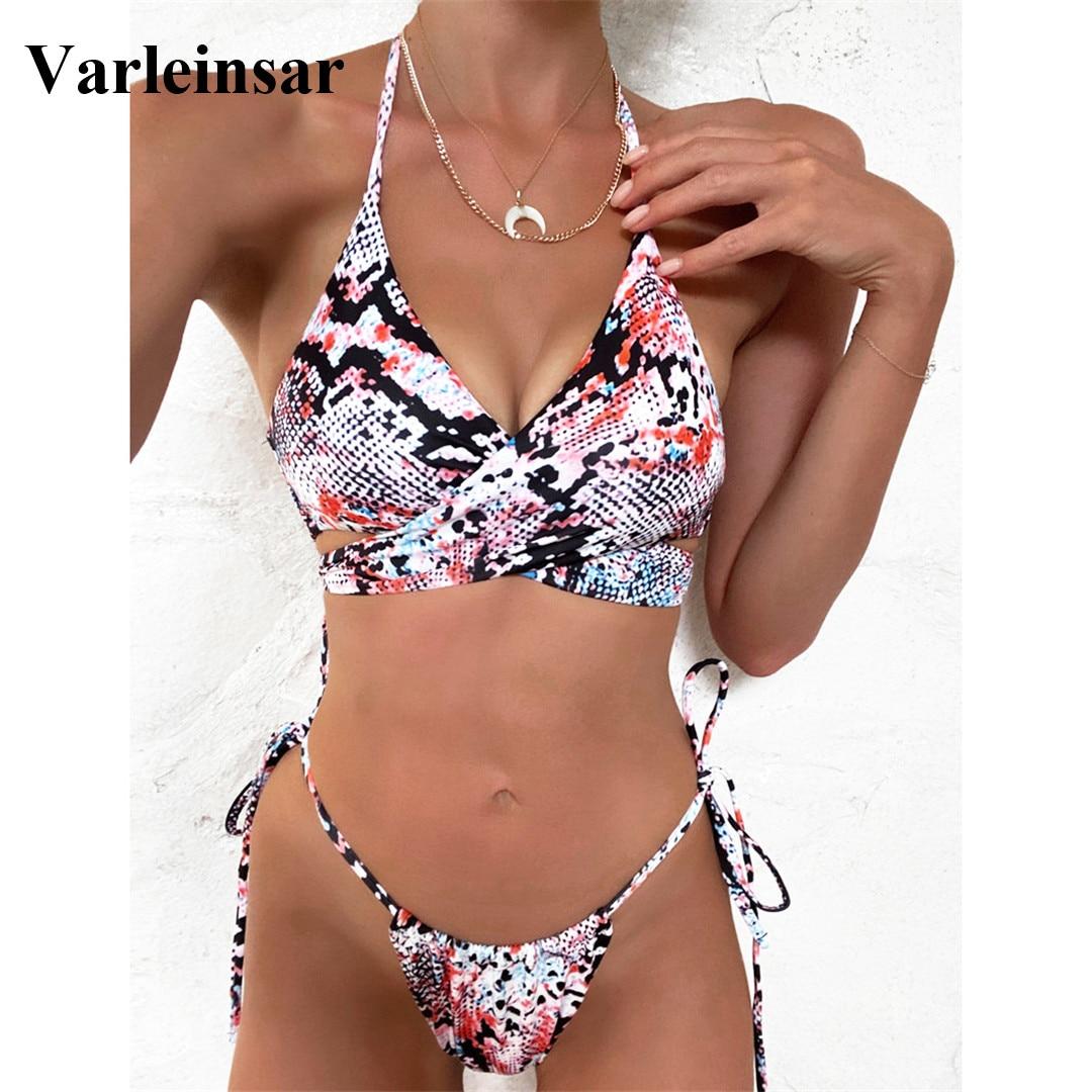 New Sexy 2020 Halter Bikini Women Swimwear Female Swimsuit Two-pieces Bikini set Wrap Around Bather Bathing Suit Swim Lady V2079