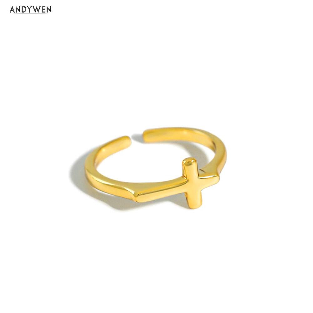 ANDYWEN – bague ajustable en argent Sterling 100%, or, croix redimensionnable, Rock Punk, bijoux fins, de luxe, à la mode, 925