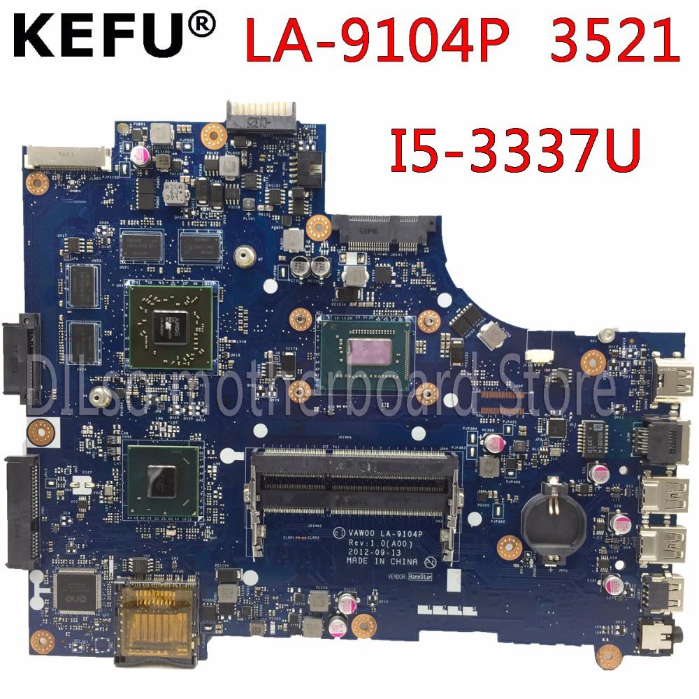Kefu LA-9104P placa-mãe para dell 3521 5521 placa-mãe do portátil la-9104p placa-mãe i5-3337u cpu teste original placa-mãe
