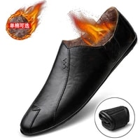 winter light and non slip thermal new casual business leather shoes plush warm formal driving mens shoes
