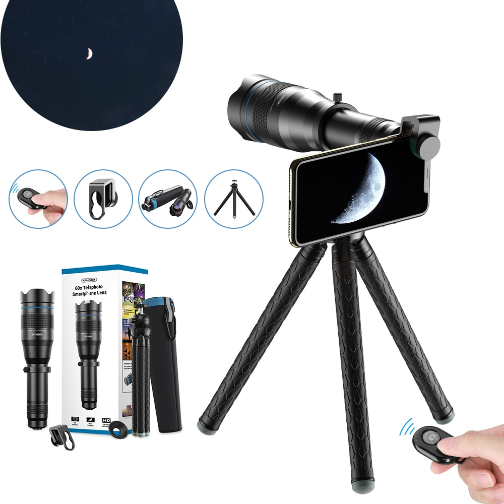 APEXEL 60x telescope telephoto Zoom lens 60x monocular selfie tripod for iPhone Huawei other smartphones Travel Hunting Hiking