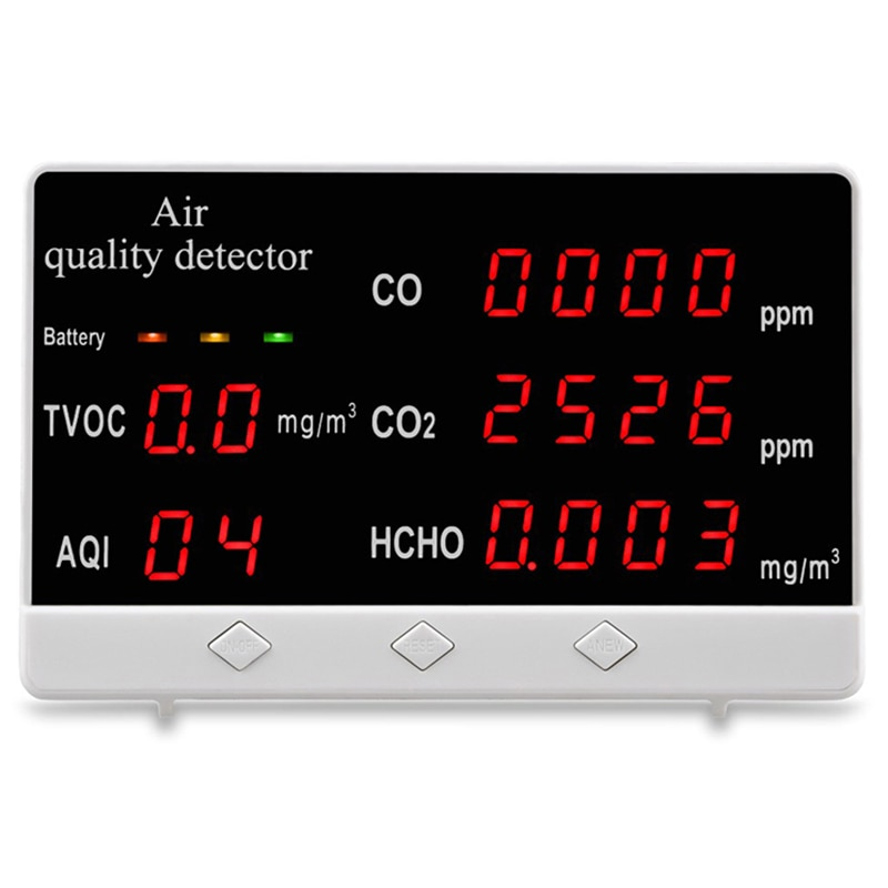 Air Quality Tester CO CO2 TVCO AQI HCHO Tester Home Daily Air Quality Monitoring Equipment