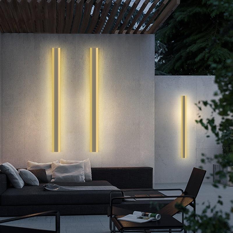 Водонепроницаемый уличный настенный светильник из нержавеющей стали, светодиодный длинный настенный светильник IP65, светильник для двора, ...