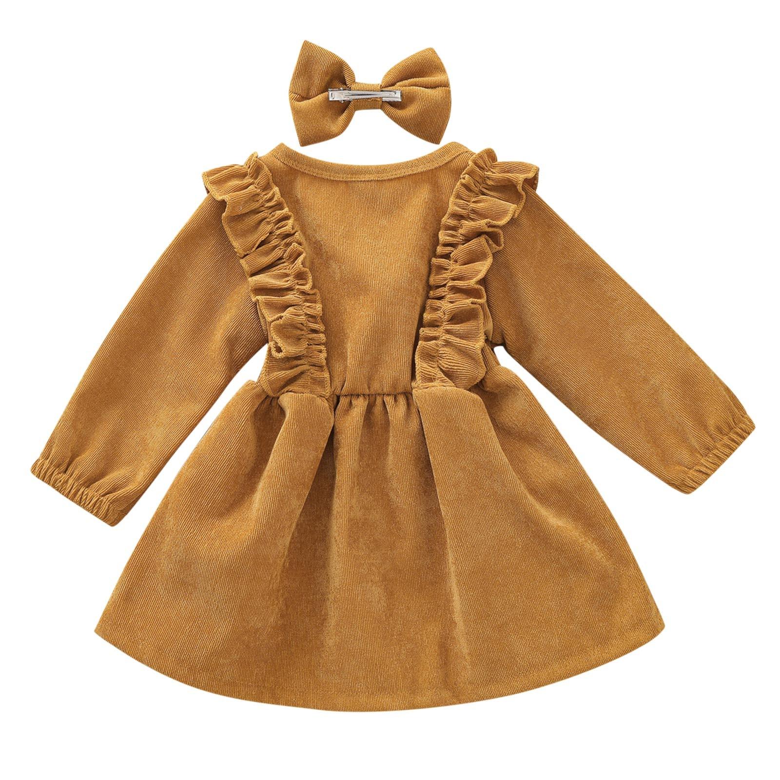 Quality Spring Design Child Long Sleeve Corduroy Ruffle Twril Dresses Toddler Brown Solid Tutu Dress Little Girl Winter Dress