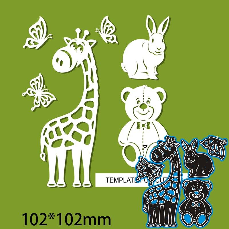 Matrices de découpe en métal, Animal girafe 102x102mm, Scrapbooking, bricolage, carte en papier, pochoir de gaufrage artisanal