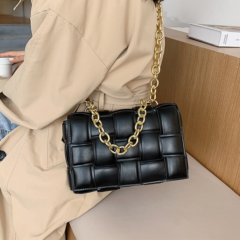Weave Flap Bags for Women 2020 Trend Pu Leather Handbags Plaid Tote Bag with Chain Strap Shoulder Bag Samll Black Crossbody Bag