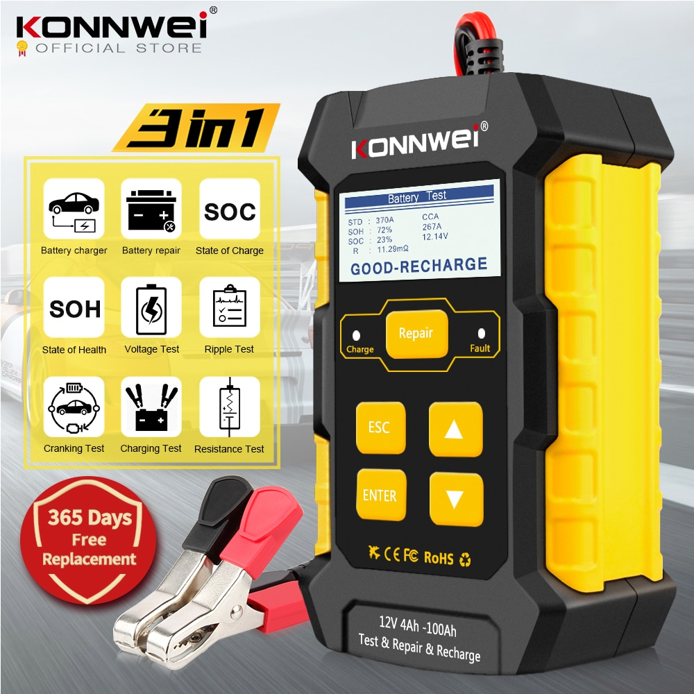 KONNWEI KW510 كامل التلقائي 12 فولت سيارة جهاز اختبار بطارية نبض إصلاح 5A شواحن بطاريات الرطب الجاف AGM هلام الرصاص الحمضية أداة إصلاح السيارات