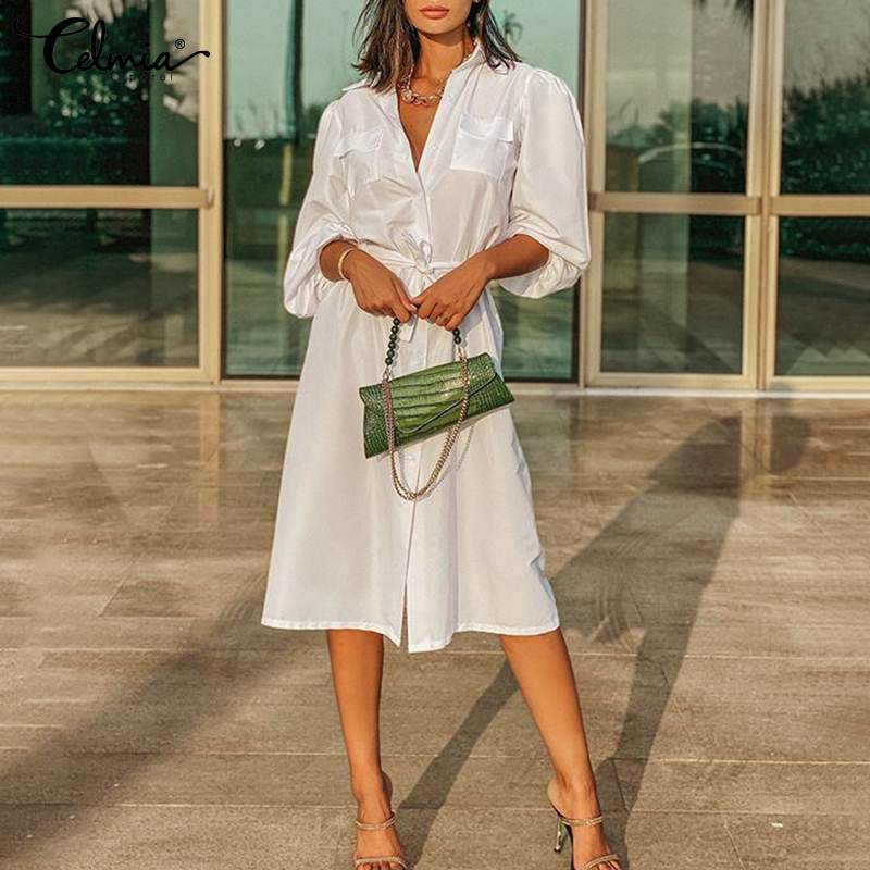 Celmia abito elegante da donna con risvolto 2021 abiti al ginocchio alla moda francese abito da ufficio a maniche lunghe a sbuffo allentato Vestido solido