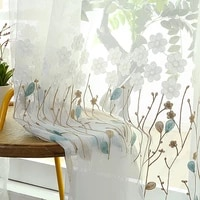 plant embroidered tulle curtains for living room kids children bedroom decoration modern veil chiffon solid sheer voile kitchen