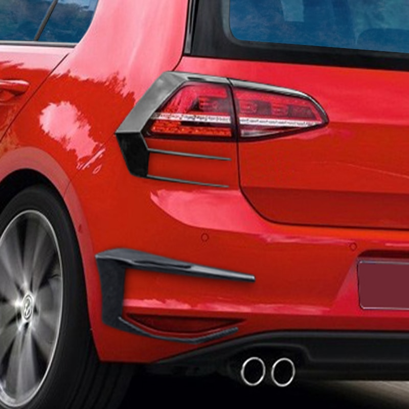 2PCS For VW Golf 7 MK7 GTI R GTD R400 2012-2015 Rear Bumper Splitter Canard Auto Exterior Parts Rear Splitter Fog Lamp Trim