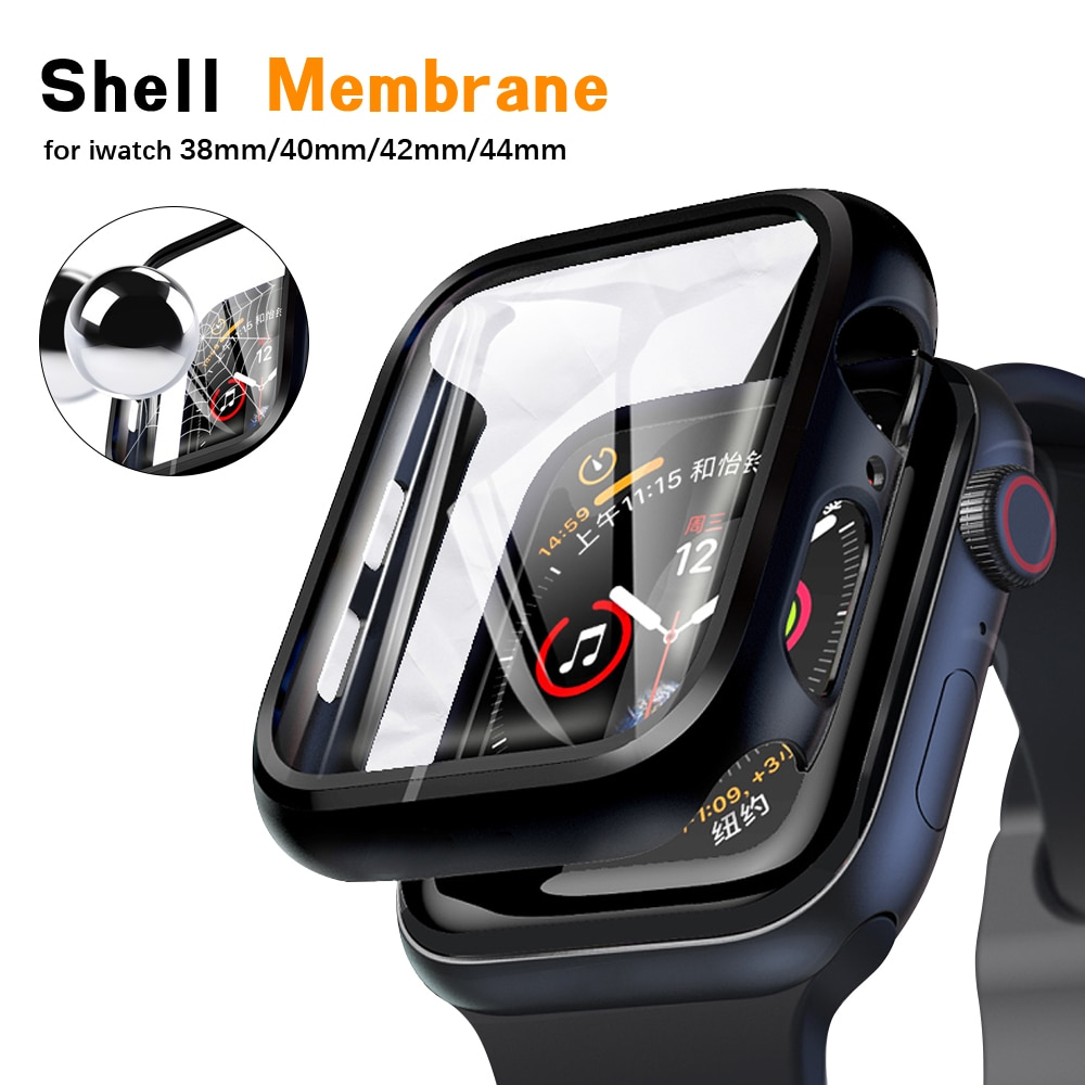 for apple watch tempered glass 44 38 42 40 mm full coverage curved edge frame bumper for i watch series 4 3 2 1 screen protector 360 full Screen protector Bumper Frame matte hard Case for Apple watch series 5 4 3 2 1 cover Tempered glass film for iwatch