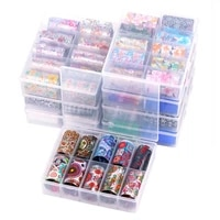 1 box holographic nail transfer sticker 4x120cm colorful flower marble starry sky pattern nail transfer foil design applique