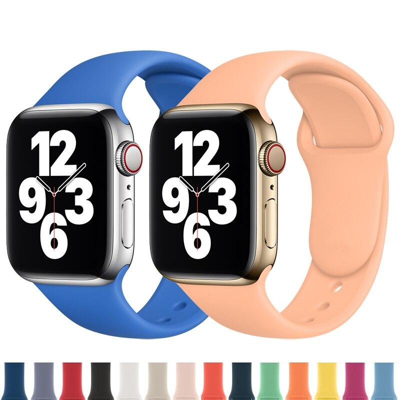 Силиконовый ремешок для наручных часов Apple Watch, версии 44 мм 40 мм, 42 мм, 38 мм, correa, наручных часов iwatch серии 6 SE 5 4 спортивный браслет ремень Apple Watch... ремешок для часов apple watch 42 мм зеленый his