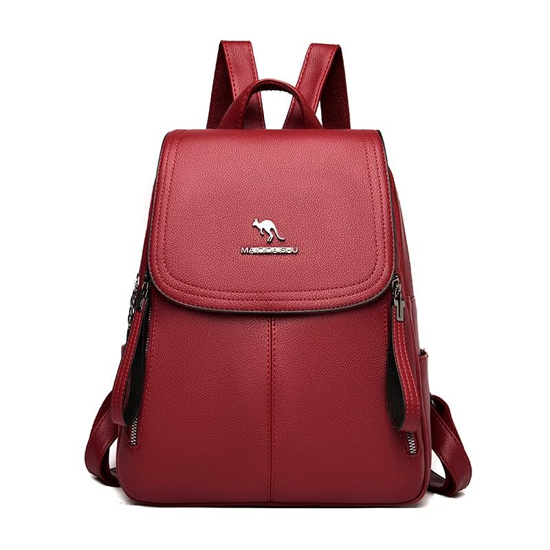 Большой Вместительный женский кожаный рюкзак высокого качества, Женский винтажный рюкзак, однотонный дорожный рюкзак, школьные сумки, Mochilas