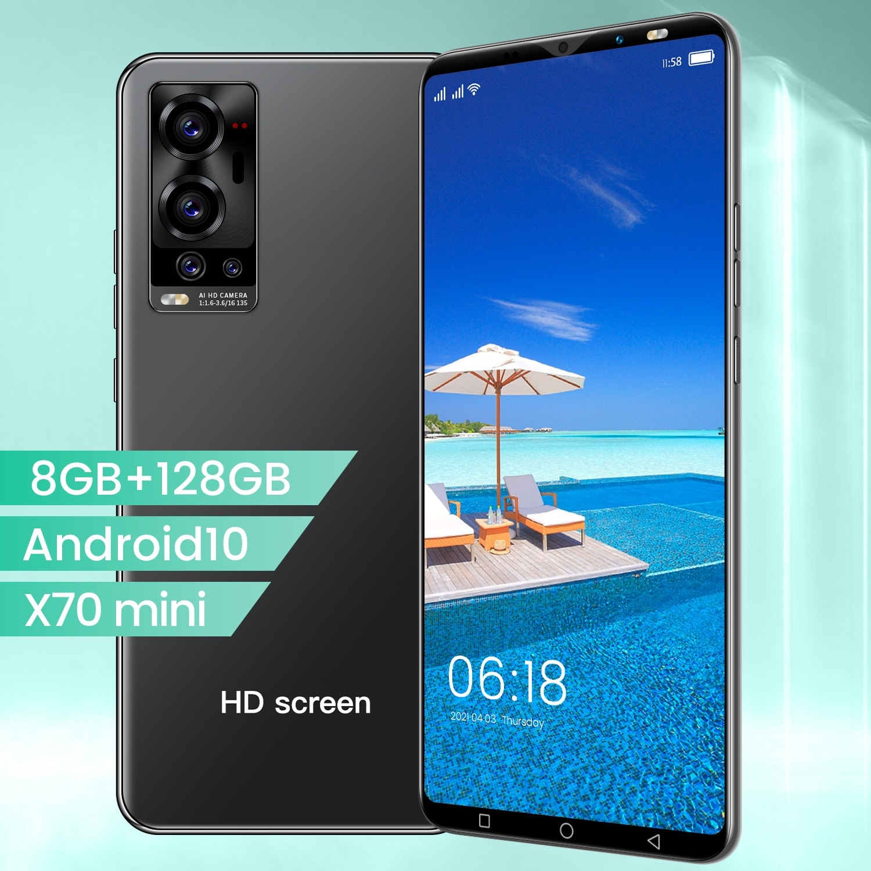 X70 Mini 5.1 Inch 1080*2320 5g Smart Phone Mtk6889 10 Core 8gb+128gb 24mp + 48mp 4800mah Andriod 10.0 Dual Sim Face Id