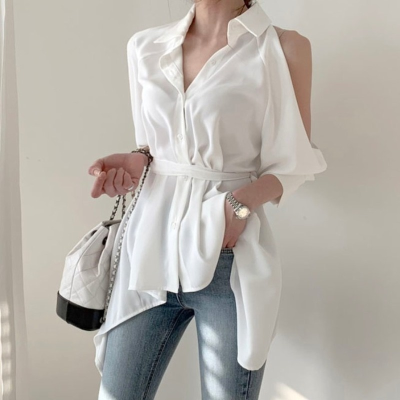 Women White Back Hollow Out Bare Shoulder Lantern Sleeve Blouse New Lapel Long Sleeve Loose Fit Shirt Fashion Spring Autumn 2020