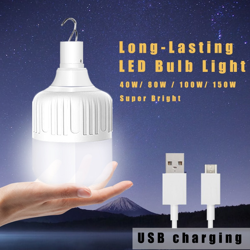 Luz de emergencia para acampar al aire libre recargable por Usb bombilla LED para lámpara, impermeable, 20W/40W/80W/100W/150