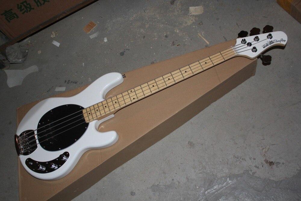 2016 Nuevo + fábrica + blanco nieve Music Man eléctrico bass music man StingRay 4 cuerdas ernie ball bajo envío gratis musicman bajo