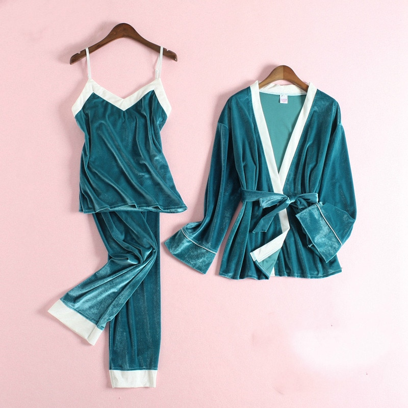 Qweek inverno pijamas de veludo feminino pizama damska conjunto feminino inverno quente das mulheres roupas em casa lounge wear