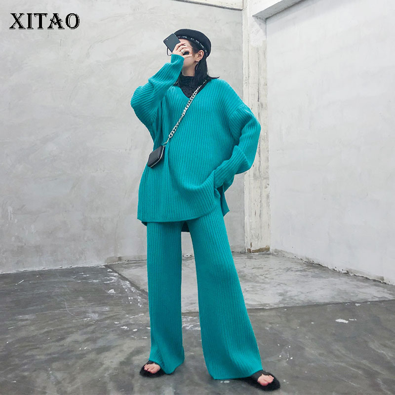 XITAO-طقم محبوك من قطعتين ، مقاس كبير ، خصر مرن ، كامل الطول ، منسوج ، شخصية عصرية ، GCC2886