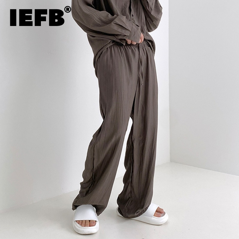 IEFB ملابس رجالية فضفاضة مستقيمة سراويل تقليدية بلون مطوي السراويل الطويلة مرونة الخصر واسعة الساق بنطلون 2021 جديد 9Y8966