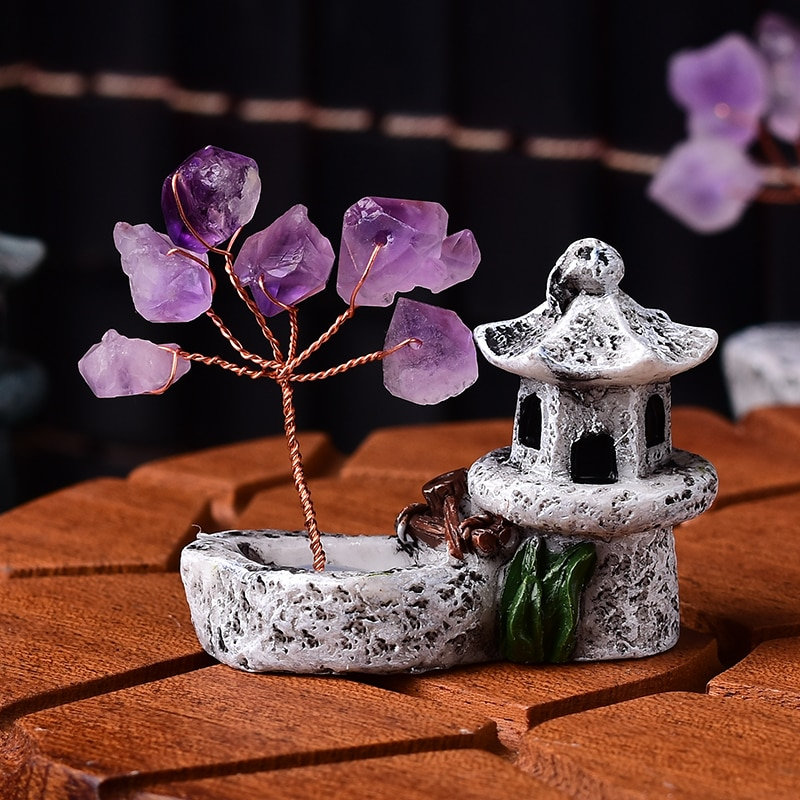 AliExpress - 1PC Natural Amethyst Tree Crystal Quartz Mineral Ornaments Tree of Life Home Decoration Lucky tree Healing Pavilion Decorate