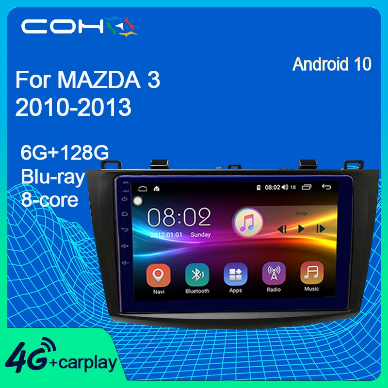 COHO For Mazda 3 2010-2013 Car Multimedia Player Stereo Radio Gps Navigation Android 10.0 6+128G 8-c