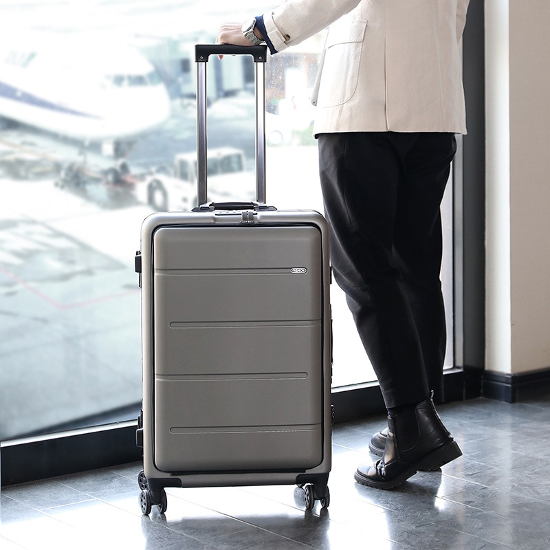The new front side pocket trolley case, universal wheel, business travel case, business trip suitcase, computer case Unisex