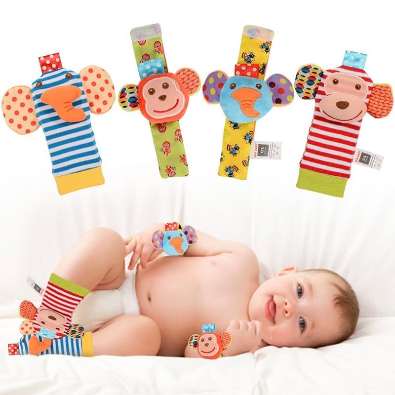 Buscador de nuevo juego de pies, calcetines, Cascabel para bebés, muñeca de mimbre, desarrollo suave y Adorable mono, elefante, estilo, regalo para Baby Shower