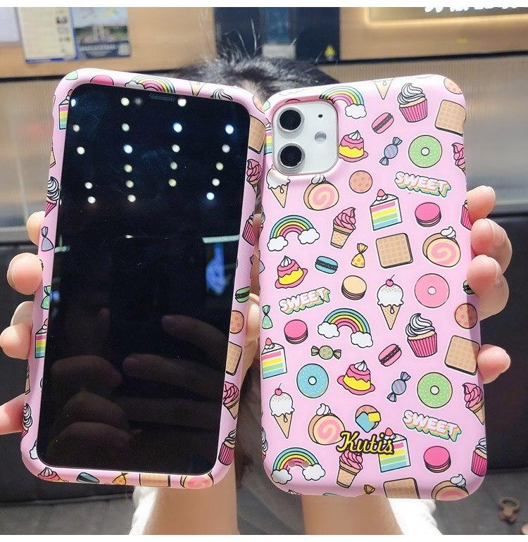 Para iphone 11 Pro funda de flamenco, 360 funda frontal y trasera coque para iphone XS max XR X 8 6 7 plus funda de unicornio flor rosa pastel