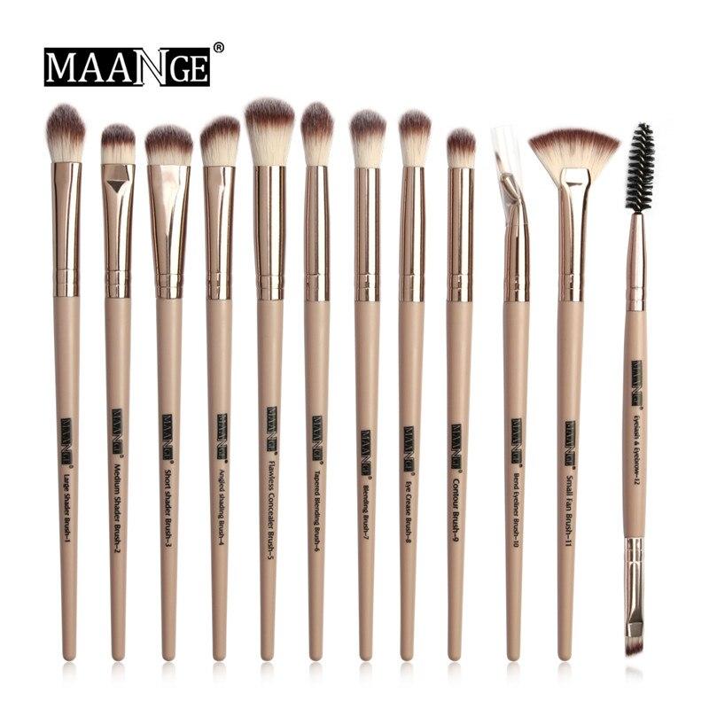 Juego de brochas de maquillaje de 12 uds/lote profesional brochas de maquillaje sombra de ojos mezclador delineador de pestañas pincel de maquillaje para cejas herramienta