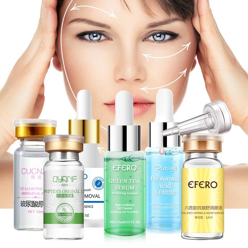 Ácido Hialurónico/seis péptidos/suero de té verde para la cara, blanqueamiento hidratante, reducción de poros, esencia facial, cuidado de la piel, antiarrugas y envejecimiento