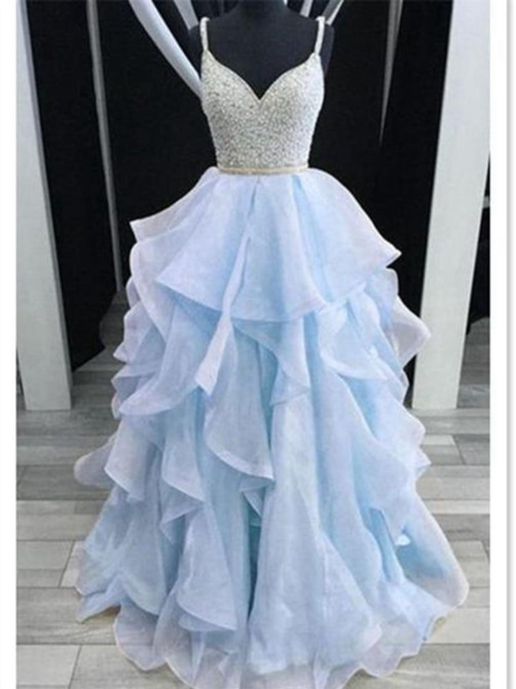 Elegant Blue/Pink Beading Crystal Ruffles Prom Dresses 2020 V Neck Formal Party Backless vestidos Evening Gowns robe de soiree