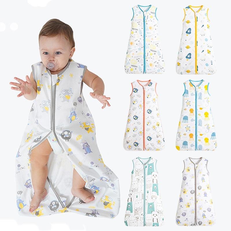 Newborn Zipper Sleepsack Cotton Baby Sleeping Bags Muslin Summer Thin Sleep Sacks for Kids 0-4 Years Baby Bedding Bebe Sacks