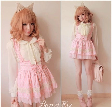 sweet lolita skirt BOBON21 exclusive original white gauze pink poka dot bitter fleabane suspenders skirt B0756 detachable straps