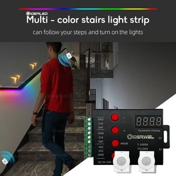 LED Stair Light Strip Controller PIR Motion Sensor Addressable LED RGB Strip Lights for Control Each Stair Light,under cabinet