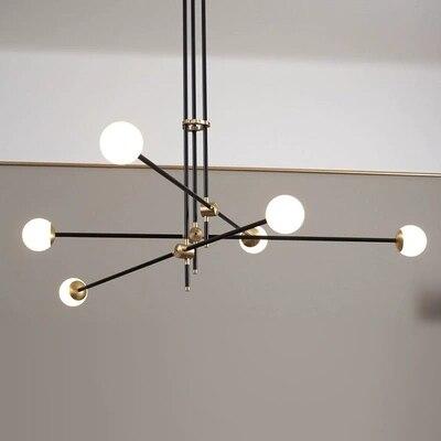 Diseño post-Globo de bola de cristal moderno, lámpara de luz colgante LED, varilla de hierro dorada regulable, tubo de línea simple, lámpara colgante, LED
