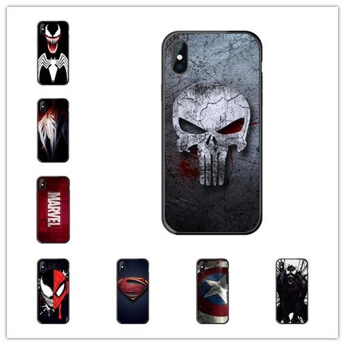 Increíble funda de teléfono de Marvel, Superman, Venom, escudo, Spiderman, LOGO para iphone 11 pro 8 7 6S Plus X 5S SE 4 4S XS max