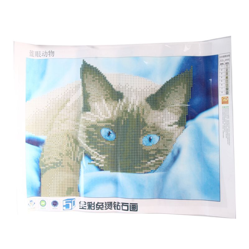 5D DIY Diamond Painting Flower Animal Embroidery Cross Crafts Stitch Home Decor grey Cat pattern