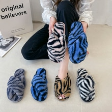Winter Women Home Cotton Shoes Slippers Furry Warm Faux Fur Fashion Cozy Houes Floor Slip on 2021 Wa